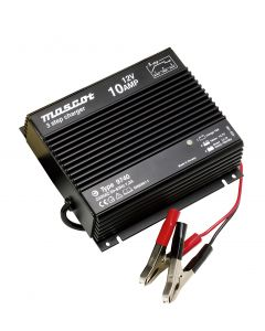 Mascot 9740 12V/10A 3-Step Switch Mode SLA Battery Charger with timer, fixed EU mains lead IP67